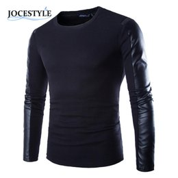Wholesale Men S Leather Wear - Wholesale-Men's Tops Shirt Clothing Black Long Sleeve PU Spell Leather Round Collar Wear Fitness Compression Shirt Men Pullover Clothing