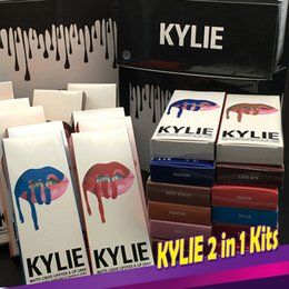 Wholesale Wine Lips - KYLIE JENNER Kits 41 Colors Kylie Lip gloss Kylie Lipliner Pencil Velvetine Liquid Matte Lipstick In Red Velvet Makeup Lip Gloss Make Up