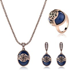 Wholesale Tungsten Blue Diamond Ring - Best Gift Luxury Antique-Golden Diamond-Encrusted Dark Blue Crystal Zircon Drop Earrings Necklaces and Rings Fashion Jewelry Sets