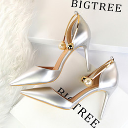 Wholesale Thin Metal Heel Sandals - Women's high-heeled shoes patent leather shallow mouth pointed hollow pearl metal word with a female sandals tide banquet was thin with