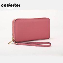 Wholesale Leather Clutch For Iphone - Wholesale- CORFERTER Brand Women Wallets Zipper Genuine Leather Wallet For Iphone 6 Solid Long Wallet Women Purses Wristlet Clutch Bag