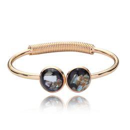 Wholesale Gold Black Metal Bangle - Shell Bangles Fashion Jewelry Silver Gold Alloy Pendant Ladies Open Bangles Christmas Gift Metal Bracelets Love Charm Bracelet For Women