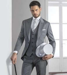 Wholesale Dinner Suits For Men - Handsome Custom Made Wedding Suits for men Best Man Groomsmen Groom Tuxedos 2016 New Formal Business Dinner Suits (Jacket+Pants+Vest)