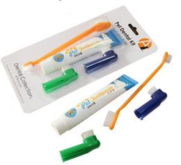 Wholesale Dental Kit Set - Hot Dog Oral Care Dogs Toothbrush Dog Toothpaste Set Pet Dental Kit 4 pcs a set wholesale free shipping #656