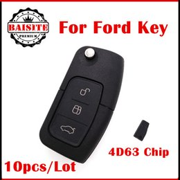 Wholesale Ford Keyless Fob - 10pcs Lot DHL Free With 4D63 Chip ford focus remote Folding Flip Keyless Remote Key Fob Case 3Buttons for Ford Focus Fiesta Mondeo 433mhz