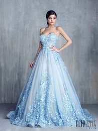 Wholesale Blue Cinderella Dresses - Tony Chaay Sky Blue 3D Floral Formal Prom Dresses 2017 Modest Cinderella Sweetheart Handmade Flower Arabic Occasion Evening Party Gowns