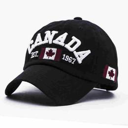 Wholesale Flag Blue - Cotton Gorras Canada Baseball Cap Flag Of Canada Hat Snapback Adjuatable Mens Baseball Caps Brand New For Adult