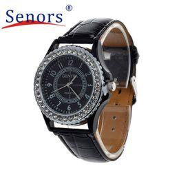 Wholesale Silicone Bangle Watches - Wholesale- Essential Wristwatch Bangle Bracelet Watches Women Leather Crystal Dial Lady Wrist Watch Bracelet Quartz Hour Sep29