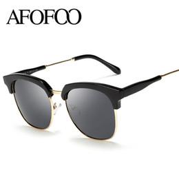 Wholesale Wholesale Half Shaded Sunglasses - Wholesale- AFOFOO Fashion Women Polarized Sunglasses Luxury Brand Designer Half Frame Ladies Men Coating Mirror Sun glasses UV400 Shades