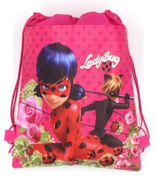 Wholesale String For Kids - 12pcs Miraculous Ladybug Non-woven Fabrics Drawstring bag Outdoor Travel Storage Bag Cartoon Backpack for Kid Back to School Draw string bag