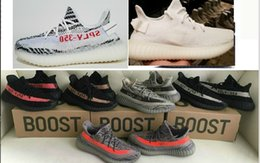 Wholesale Outdoor Fluorescent - DHL Cp9366 V2 Triple white v2 boost Fluorescent 350 Sneakers Breds and Zebra 350 V2 Boost 350 WithBox Kanye West Running Shoes