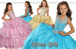 Wholesale Teal Organza Flower Girl Dresses - 2017 teal Little Girls Pageant Dresses Princess backless Crystal Beading Kids Flower Girls Dress organza tiered ruffles Birthday gowns