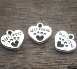 Wholesale Paws Heart - 20pcs--Best Friend Charms, Antique silver Tone with Heart Dog Paw charm pendants 15x15mm