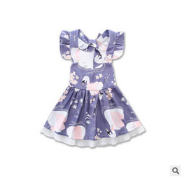 Wholesale Girls Crowning Dresses - Baby Girls dress 2017 new children fly sleeve bow backless princess dress girls Red-crowned cranes printed dress toddler kids clothes T1801