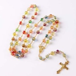 Wholesale White Beaded Rosary Beads - Rosary Beaded Religious Necklace Acrylic rose Beads Cross Pendant Necklace 2Colors Free Shipping white color