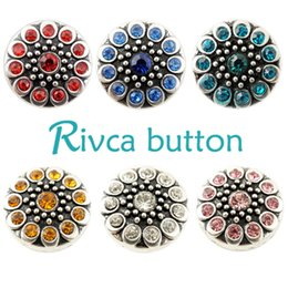 Wholesale High Quality Silver European Charms - D01776 Rivca Snaps Button Jewelry Hot wholesale High quality Mix styles 18mm Metal Ginger Snap Button Charm Rhinestone Styles NOOSA chunk