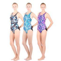Wholesale Mixed Girls Swimsuits - HXBY Women Girls fastskin Full Waterproof Body Suit Swimwear Long Sleeve Arena Competitive Swimming Swimsuit-280-Print