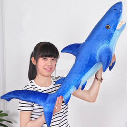Wholesale Plush Sea - 115cm Big Plush Sea Animal Shark Plush Toy 45'' Giant Soft Simulated Sharks Stuffed Pillow Doll Kids Gift
