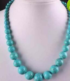 Wholesale Turkey Turquoise Beads Wholesale - 6-18mm Blue Turkey Turquoise Gems Round Beads Necklace 18.5