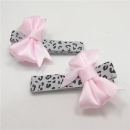 Wholesale Mini Cute Satin Ribbon - 20pc lot Leopard Hair Clip with Pink Satin Ribbon Bow Small Spring Cute Baby Hairpin Animal Print Toddler Boutique Mini Barrette