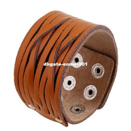Wholesale Coffee Wristband - Retro Personality Light Coffee Wide Braided Bracelet For Men Leather Bracelet Double Buckle Leather Wristband Jewelry