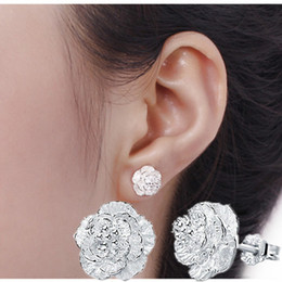 Wholesale Nice Studs - 48Pcs Lot Women New Romantic Cherry Blossoms Stud Earrings 925 Sterling Silver Fashion Jewelry Girls Party Earring Nice Gift Hot Selling