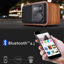 Wholesale Rechargeable Bluetooth Wireless Speaker - 2017 Bluetooth Speaker with FM Radio Alarm Clock TF USB MP3 Player Wood Stereo Multimedia Wireless Subwoofer