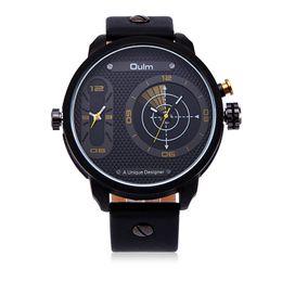 Wholesale Oulm Double - Fashion Dual movement Double Time Zone Mens Watches Quartz-Watch Oulm Leather Sport Quartz Wrist Watch Clock relogio masculin WHQL003