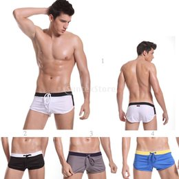 Wholesale Fly Lounge - Wholesale- Sexy Drawstring Side Split Lounge Sports Athletic Boxer Shorts Swim Trunks for Men