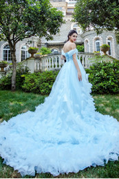 Wholesale Refresh Water - Refreshing Fairy Water Blue Fairy Gas Luxury Big Tail Princess Bride Wedding Dress Real Bridal Gowns