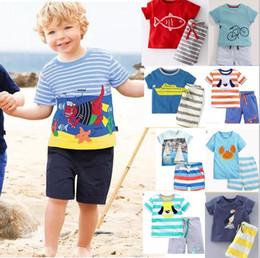 Wholesale T 28 - 28 syle 2017 BST29 New Arrivals Little Maven Kids 100% Cotton short sleeve cartoon duck print boy's set causal summer boys set t shirt+ pant