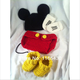 Wholesale Diaper Covers Cartoons - Newborn Cartoon Mouse Costume,Handmade Crochet Baby Boy Girl Animal Beanie Hat,Diaper Cover,Booties,Gloves Set,Infant Halloween Photo Prop