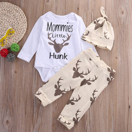 Wholesale Winter Bodysuits For Babies - 3 Pieces a Set Casual Kids Clothing For Newborn Baby Boys Funny Bodysuits+ Deer Pants +Hat Infant Baby Suit Wholesale Fast Shipping DHL