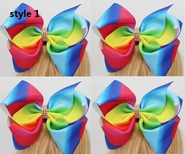 Wholesale Wholesale Cheer Bows - 2017 Newest jojo SIWA 8 Inches Extra Large Grosgrain Ribbon Rainbow Cheer Bows Alligator Hair Clips for Girls Kids Toddler 12pcs
