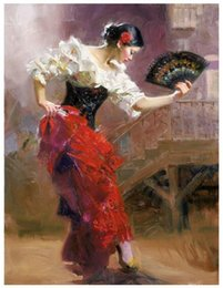 "Olio spagnolo online-""The Dancer"" Spanish Beautiful Dancer di Pino Daeni, dipinto a mano famoso Impressionista Girls Art Oil Painting Canvas, disponibile in varie taglie"