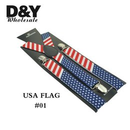 Wholesale America Clips - Wholesale-2.5cm 1inch wide USA America Flag Pattern Suspender Unisex Clip-on Braces Elastic Slim Suspender Y-Back Braces