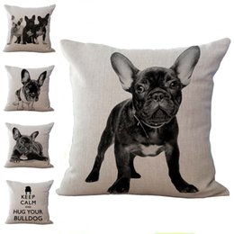 Wholesale Covered Dog - French bulldog Dog Pillow Case Cushion cover Linen Cotton Throw Pillowcases sofa Bed Pillow covers Drop shipping PW367