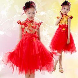 Wholesale Wholesale Cheongsam Red - Girl Chinese wind cheongsam pompong yarn dress dancing children princess dress host guzheng piano musical instrument performance clothing