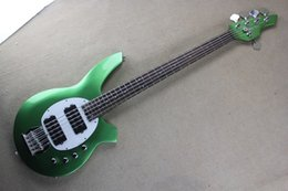 Wholesale Pickups For Bass - Metalic Green Custom Music Man Bass Bongo 5 Strings Electric Bass Guitar Musicman with active pickups 9V battery Free Shipping