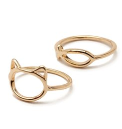 Wholesale Grace Party - Wholesale- Timlee R146 Free shipping Grace Fashion Cute Fish and Cat Finger Rings Set 2pcs set Wholesale .