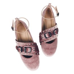 Wholesale Fabric Chic - Sweet Women's Pink Velvet Flat Ballet Shoes.Lady Buckle Rhinestones Bandage Round Toe Dance Mary Jane Shoes.Loafers Chic Shoes