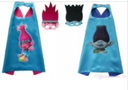 Wholesale Kids Cotton Mask - 1pcs mask+1pcs cape trolls double layer cape children Cosplay capes Halloween Party Costumes for Kids clothes