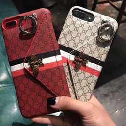 Wholesale Case Envelope Phone - Famous Classic striped metal bee envelope design Phone Case for iPhoneX 8 8plus with card pocket cover for iPhone7 6 6S 7plus