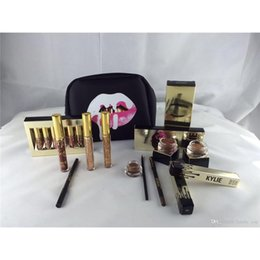 Wholesale Brow Bag - Kylie Holiday Golden Box Gloss Suits Makeup Gift Box Bag Birthday Collection Cosmetics Bundle Bronze Kyliner Copper Creme Shadow Brow Brush