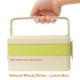 Wholesale Drinks Set - Natural wheat straw lunch box, 2-3 layer 6 sets, comes with cutlery, anti-spill student lunch box,Microwave oven available.