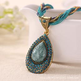 Wholesale Gemstone Jewelry Peridot - Jewelry water drops diamond gemstone necklace Europe and the United States retro Bohemian national wind female pendant 17 color optional