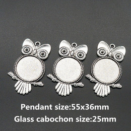 Wholesale cameo settings wholesale - Wholesale- BL0072 Owl Antique Silver Necklace Pendant Setting Cabochon Cameo Base Tray Bezel Blank Fit 25mm glass cabochon