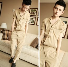 Wholesale Jumpsuit Harem Overall - Wholesale-2015 New Summer Korean Men's Fashion Short-sleeve Loose One piece Rompers Hiphop Tooling Jumpsuit Khaki Overalls Harem Pants