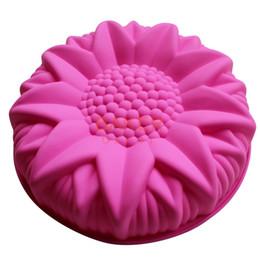 bolo de spray grossista Desconto Atacado-grande silicone molde do bolo moldes de sobremesa grande girassol styling pastelaria moldes SCM-003-3