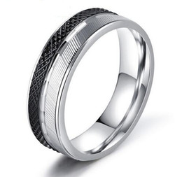 Wholesale Rings 11 Titanium - 2017 New Titanium Steel Ring for Men Jewelry Fashhion Punk Wedding Party Mens Rings Bague Homme 6mm Anillos US Size 7-11